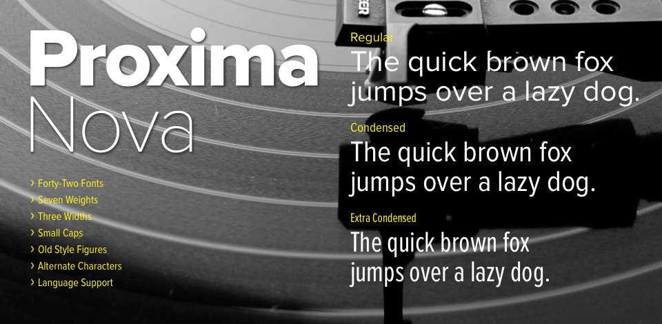 Proxima Nova font family from Mark Simonson